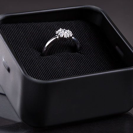 Close-up Of Diamond Ring In The Case